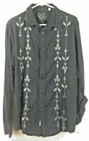 Guess Size Lg. Men's Shirt Casual Button Front L/S Club Embroidered Black Cotton