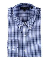 Tommy Hilfiger - Mens 17 34/35 Classic Fit - $68 Blue Gingham Cotton Dress Shirt