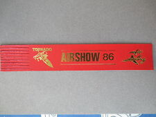 BOOKMARK Leather TORNADO RAF Jet plane AIRSHOW '86 1986 Vintage RED