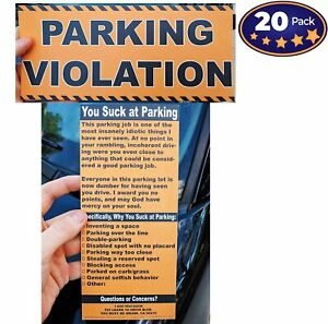 [20 Pack] Full-Size, Realistic Fake Parking Ticket Prank Gag Gift by Witty Yeti