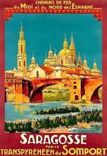 Arte cartel Zaragoza transpyreneen du Puerto de Somport impresión de viaje