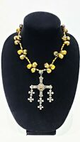 TAXCO/MEXICO VINTAGE STERLING SILVER & TIGER EYE YALALAG CROSS PENDANT NECKLACE