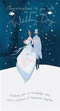 "Wedding Day Card ""Sparkling Bride and Groom Design"" Size 9"" x 4.75"" JW248"