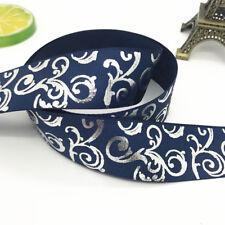 New 5yards 1inch 25mm print hot silver Satin Bow Ribbon Hair Sewing Dark blue