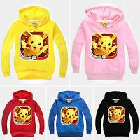 Pokemon Go Boys Girls Hooded Coat Tops Kids Pikachu Sweatshirt Cartoon Hoodie