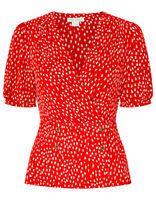 £35 Ex Monsoon Saige Red Wrap Spot Dash Brush Stroke short sleeved TOP 8 to 20