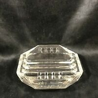 "Vintage Clear Glass Octagon 5"" Ashtray"