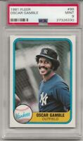 1981 FLEER # 98 OSCAR GAMBLE, PSA 9 MINT, NEW YORK YANKEES,  L@@K