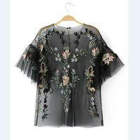 New Fashion Women's Vintage Blouses Floral Embroidery Mesh Shirts lady Tops