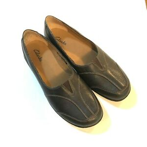 Nice Clarks Brown Pebbled Leather Slip On Casual Loafers Womens Size 11 84669