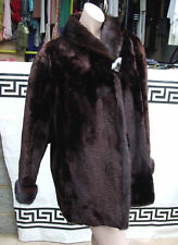 Magnificent Hand Made Vintage Real Mink Fur Warm Dark Brown Short Jacket Coat 12