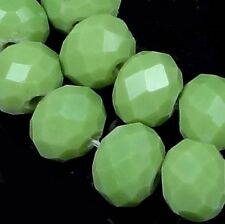 25 Czech Glass Faceted Rondelle Beads - Opaque Olive Green 8mm