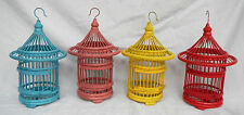 Small Hand Made Bamboo & Wood Asian Bird Cage - Plant Container / Decor