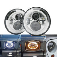 Pair 7Inch LED Headlights H4 Halo Angel Eyes For Jeep Wrangler VW Beetle Classic