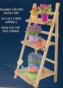BISEN WOODEN PLANTER FOLDING FLOWERPOT 3 TIER STAND LADDER DISPLAY STORAGE SHELV