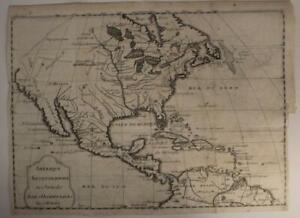 NORTH AMERICA 1720ca JEAN-BAPTISTE NOLIN UNUSUAL ANTIQUE COPPER ENGRAVED MAP