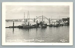 Yaquina Bay Boats NEWPORT Oregon RPPC Rare Vintage Photo Postcard 1940s