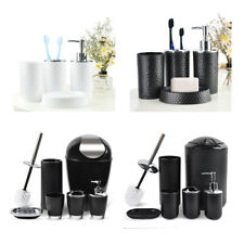 Piece Bathroom Accessory Set-Black/ White Soap Dish Pump Holder Cup Set