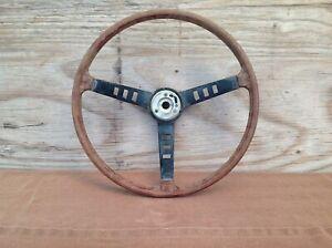 """Vintage Wood and Metal 3 Spoke 15"""" Steering Wheel"""