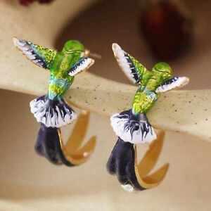 Fashion natural cute hummingbird modelling oil drip ear stud Halloween Jewelry