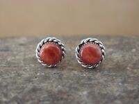 Native American Zuni Sterling Silver Spiny Oyster Post Earrings! Cachini