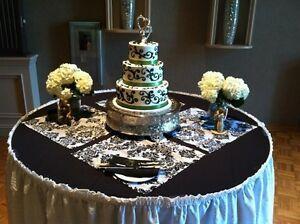 100 Flocking Damask Napkins Flocked Black Velvet on White Taffeta Fabric Wedding