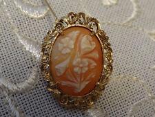 Brosche Anhänger 585 Gold Antik Floral Blume Muschel Gemme 14 Karat Kette Kamee
