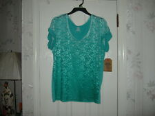 ROUTE 66 CUFFED SHORT SLEEVE BLUE/GREEN LACE TOP SIZE LARGE NEW WITH TAGS