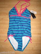 NEW* Hurley SWIMSUIT GIRLS 6 TANK 1 PC Children's $42 Retail Teal Blue Stripes
