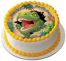 DINOSAUR T-REX 7.5 PREMIUM Edible RICE CARD Cake Topper CAN PERSONALISED DINO D2