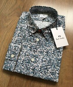 PAUL SMITH TAILORED FIT LONG SLEEVE MOUNTAIN PEAK PRINT SHIRT SIZE M - BRAND NEW