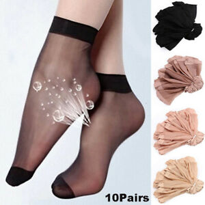 10/20 Pairs Women's Ankle Socks Ultra-thin Elastic Sheer Silky Short Stockings