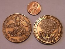 2 MILITARY MEDAL LOT ACT OF CONGRESS 1990 REMEMBER PEARL HARBOR & PERSIAN GULF