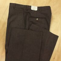 NOS NWT usa made worsted wool pants trousers 34 tag flat front brown deadstock