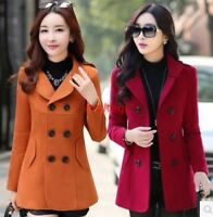 Womens Wool Blend Double Breasted Lapel Collar Jacket Parka Windcoats Coats