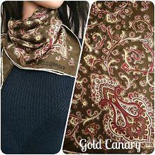 "Vintage Jacqmar 50s Khaki Paisley Large Silk Scarf Hand Rolled 30"""