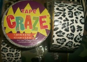 3~rolls Duct tape gray & black leopard print 1.69in x 6YDs crafts furniture etc
