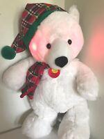 GOFFA Animated White Polar Bear Plush Sings We Wish You Merry Christmas, Lights