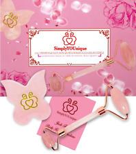 Rose Quartz Facial Roller Massager + Butterfly Gua Sha Set for Face Jade Roller