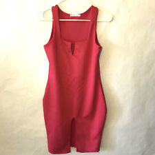 Hanyagediao Women's Sleeveless Bodycon Dress Size Small Hot Pink Slit Front