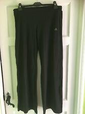 Ladies Womens Black Adidas Climalite Jogging Yoga Wide Leg Pants Size 16 / 18