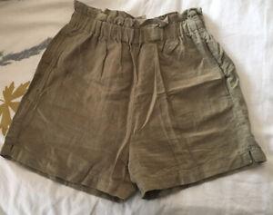 H&M Khaki Linen Shorts UK8 Excellent Condition