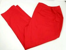 Anne Klein Women Double Weave Slim Pant Cotton Blend Size 22W Tomato Red New NWT
