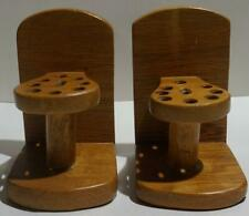 VINTAGE WOOD PENCIL HOLDER BOOKENDS
