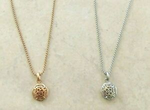 Kendra Scott Logo Filigree Coin Charm Pendant Necklace, Silver or Rose Gold tone