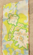 "Vintage yellow pink blue green mod paisley print rectangular scarf 10"" x 44"""