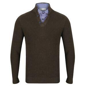 NEXT™ Mock Shirt Jumper New Button Collar High Neck Textured Jumper & Mock Shirt