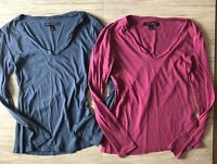 Banana Republic Womens Long Sleeve Tee Shirt Size XS Pink Blue Top Lot of 2 Soft