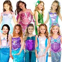 Mermaid Princess Girls Fancy Dress Fairy Tale Book Week Childrens Kids Costumes