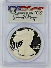 2008-W $1 Proof Silver Eagle PCGS PR70 Ed Moy Signed Red White and Blue Label